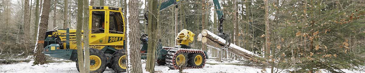 Forstmaschinen mit Greifer, Gleitschutzkette und Traktionsbänder im Wintereinsatz